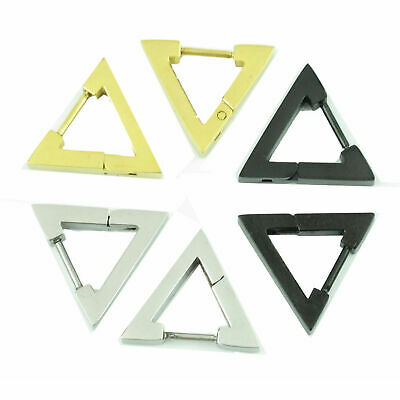 Punk Rock Stainless Steel Triangle Men's Women's Hoop Huggie Ear Studs Earrings