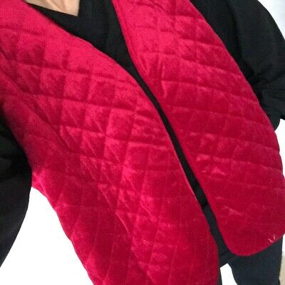 Vtg Red Quilted Open Waistcoat Smoking Jacket Style Bed Retro Costume UK 20