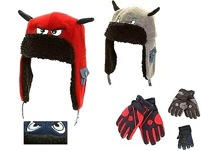 Kids Boys Ski Gloves And Hat Thermal Waterproof Glove Padded Trapper Hat Set