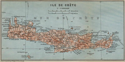 CRETE. topo-map of the island. Greece. BAEDEKER 1909 old antique chart