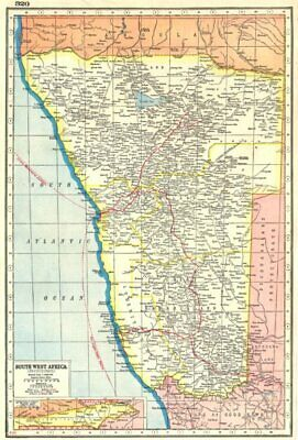 NAMIBIA. South West Africa protectorate. HARMSWORTH 1920 old vintage map chart