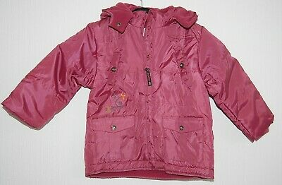 Girls Toddlers Warm Winter Hooded Jacket Soft Fleece Lining Pink Age 2 Years