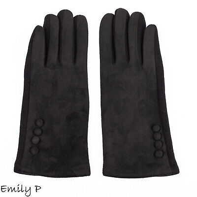 Ladies Black Gloves Suedette Touch Screen Soft Warm Winter Gloves with Buttons