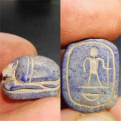 Ancient Unique Lapis lazuli stone Scarab Seal intaglio Stamp  # 34