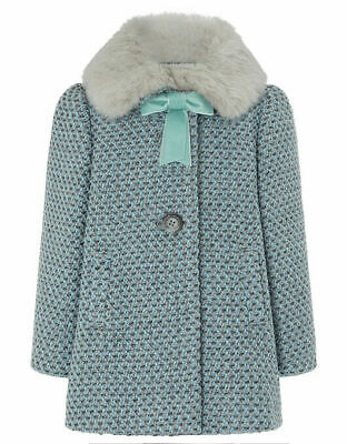Monsoon Baby Multi Faux Fur Tweed Girls NEW Winter Jacket Coat Age 1 to 4 Years