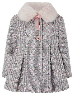 Monsoon Tweed Faux Fur Neck Girls NEW Winter Jacket Coat Age 1 to 4 Years £45