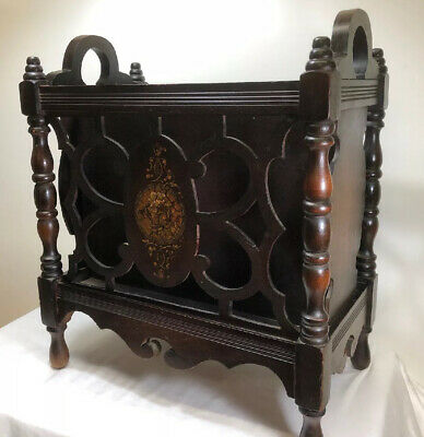 Antique Wood Magazine Rack Hand Painted Florals Footed Tall  3 Pockets