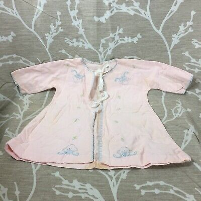 Vintage 40's New Born Gown/ Jacket Pale Pink Blue Embroidery Flannel