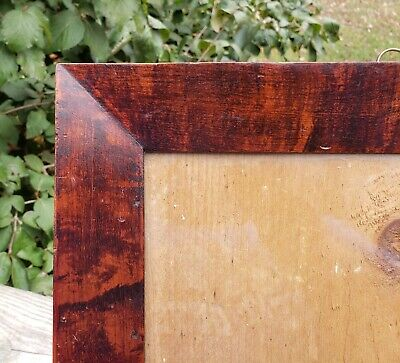 c1840 American OXBLOOD RED Mottled Grain Painted Folk Primitive FRAKTUR Frame