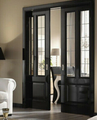 Pocket Doors with   Leaded Glass panels  Wow
