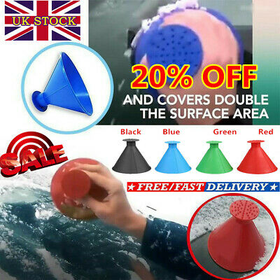 Car Windshield Ice Snow Remover Scraper Tool Magical Cone Shaped Round Funnel UK