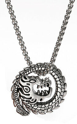 Viking Gothic Ancient Dragon Animal Stainless Steel Pendant Necklace