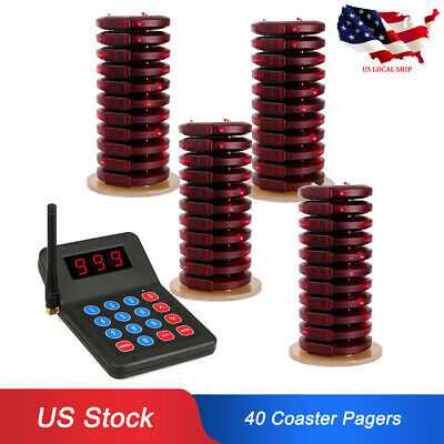 Restaurant Equipment Wireless Service Queuing Paging System w/ 40Coaster Pagers