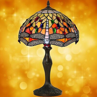 Table Lamp in Tiffany Style Antiques Art Design Bronze Coloured Handmade