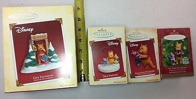 Winnie the Pooh and Piglet Christmas Ornament Lot Hallmark Disney Best Friends