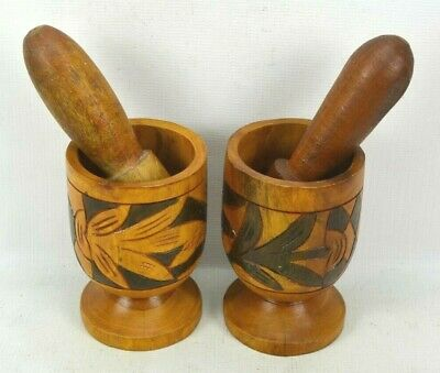 Wooden Mortar Pestle Set of 2 Herb Mixing Apothecary Grinder Spice Crusher Bowls