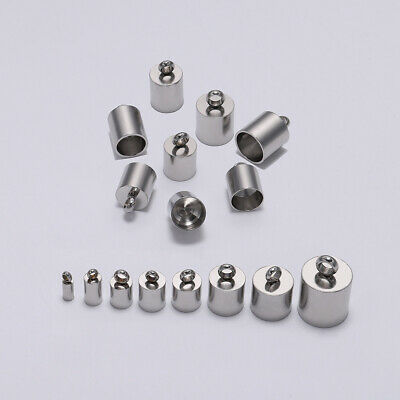 10pcs Stainless Steel Crimp Bead Cord End Caps For DIY Jewelry Bracelet Making