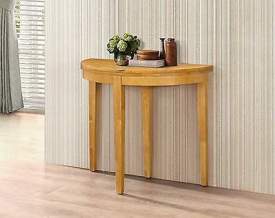 Hall Table Side Display Table Dining Table Round Folding Half Moon Oak Finish