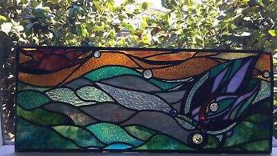 Leadlight window original art butterfly landscapes high end glass multi coloured