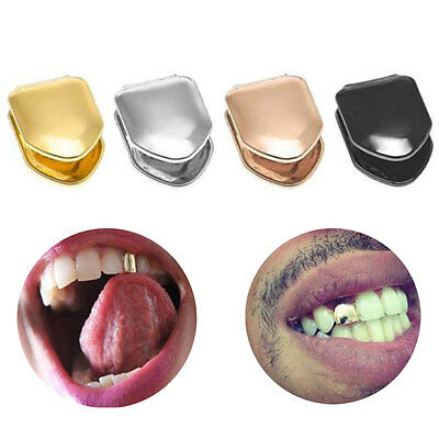 14K Gold Silver Plated Small Single Tooth Plain Canine Cap Grillz Hip Hop Teeth