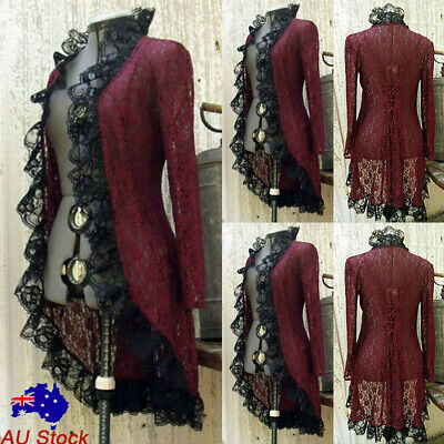 Women Vintage Victorian Gothic Lace Cardigan Ladies Steampunk Long Sleeve Coat