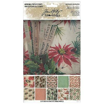 "Tim Holtz Idea-ology 'WORN WALLPAPER CHRISTMAS' 5x8"" Paper Pad 24 Sheets"