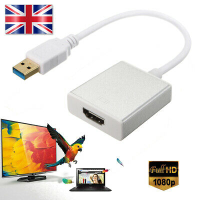 USB 3.0 to HDMI HD 1080P Video Cable Adapter Converter for PC Laptop HD TV UK
