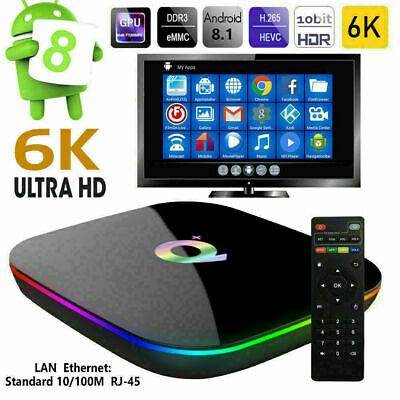 SMART TV BOX Q Plus ANDROID 9.0 PIE 4GB RAM 64GB 6K IPTV WIFI NEW