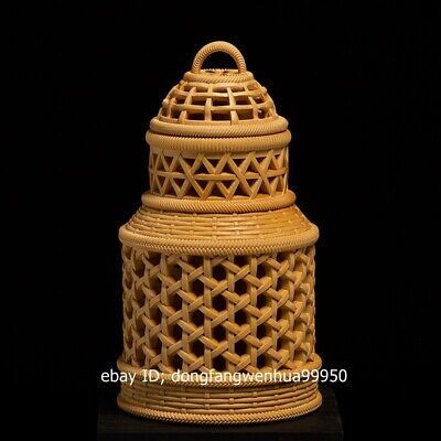 China Boxwood Hand Carved Insect Grasshopper Cage Coop Basket
