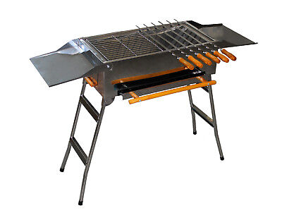 Grill BBQ Mangal Charcoal Stainless Steel Shish Kebab Skewers Spit Dreher