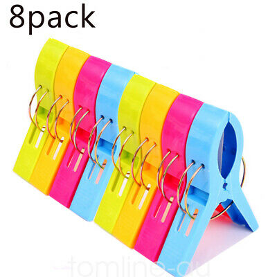 8 Pcs Large Beach Towel Clips Clamp Set Laundry  Sunbed Lounger Clothespins Pegs