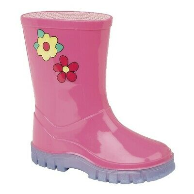 Girls Pink Kids Infant 'Puddles' wellies wellington boots 3 - 10 UK