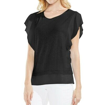 Vince Camuto Womens Smocked Mixed Media Casual Pullover Top Shirt BHFO 6310