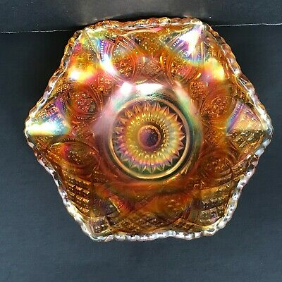Vintage Imperial Diamond Iridescent Marigold Carnival Glass Footed Bowl
