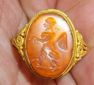 SCARCE ANCIENT ROMAN 22k CARAT GOLD RING WITH CARNELIAN INTAGLIO King  #27