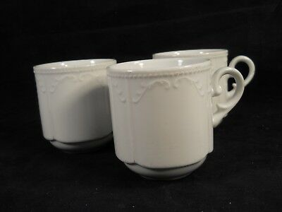 "Villeroy & Boch ""Sirius"" White Scalloped Embossed Cups/Mugs -set of 3"