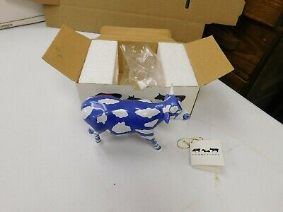 2000 Cow Parade Sky Cow Figurine With Box And Tag