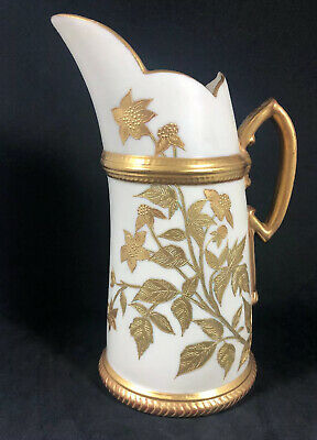 Antique Royal Worcester Pitcher With Gilt Design And Unusual Handle EUC 4D