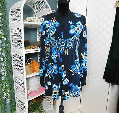 eci Long Sleeve Mini Dress..Long Top..Floral Print..Beaded Waist..Size Small