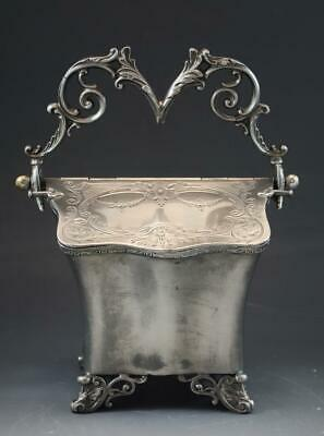 Antique English Sheffield Silver Plate Biscuit Box Jar by Lee & Wigfull