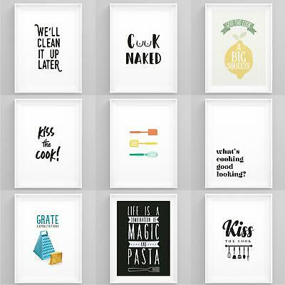 Kitchen Prints Framed Cooking Quotes Wall Art A5 A4 A3 A2 Dining Room Posters