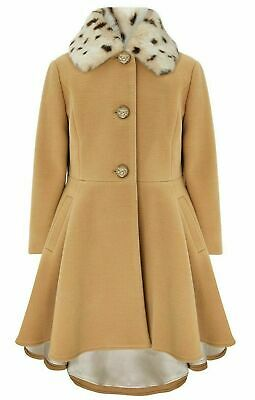 Monsoon Camel Girls Fur Neck Princess Winter Jacket Coat Age 3 to 13 Yrs NEW £50