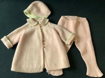 Vtg 40s 50s girls embroidered pink mohair wool coat pants hat 3pc snow suit set