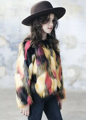 NEXT Girls Brightly Coloured Faux Fur Jacket Age 10 Years