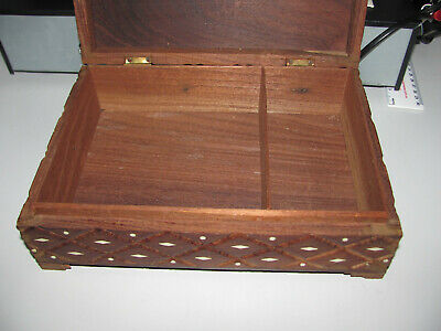 Vintage Oriental Carved Wooden Decorative Inlaid Trinket Jewelry Box As Shown