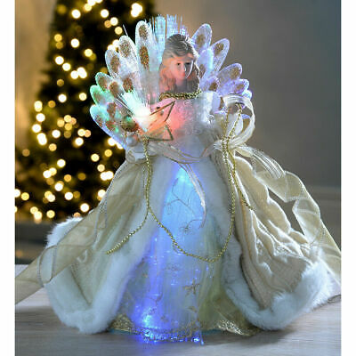 Pre-Lit Decorated LED Illuminated Fibre Optic Christmas Angel Tree Topper Decor