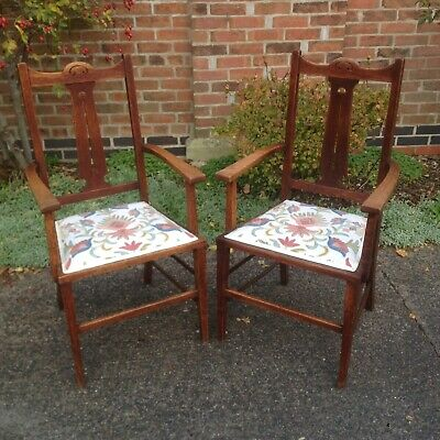 Pair Of Antique Arts And Crafts Art Nouveau Oak Carver Chairs - Del. Avail.