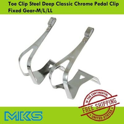 L LL M MKS Toe Clip Steel w//Leather Toe Clipssize S