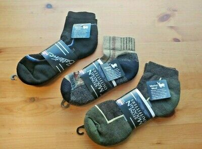 Mens Ballston 1/4 Ankle Golf Hiker Trail 70% Merino Wool Socks Medium 9-11 3 PR