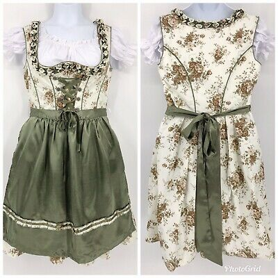 Lifos Traditional German Bavarian Dirndl Dress White Brown Floral Green Apron 46